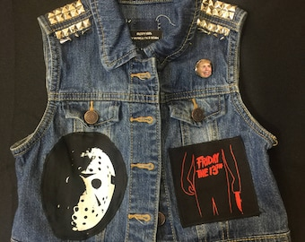 Studded and distressed Friday the 13th denim patch vest