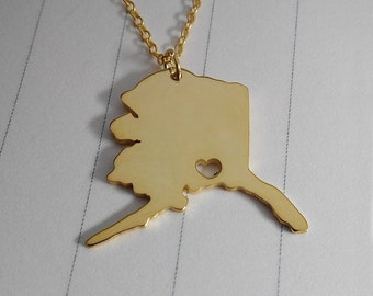 AK State Charm Necklace,Alaska State Necklace,Silver AK State Necklace,State Shaped Necklace  With A Heart