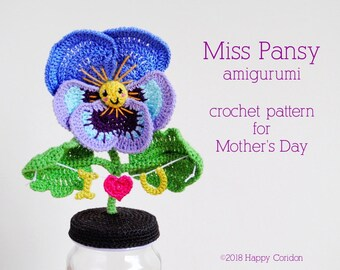 CROCHET PATTERN - Miss Pansy amigurumi for Mother's Day