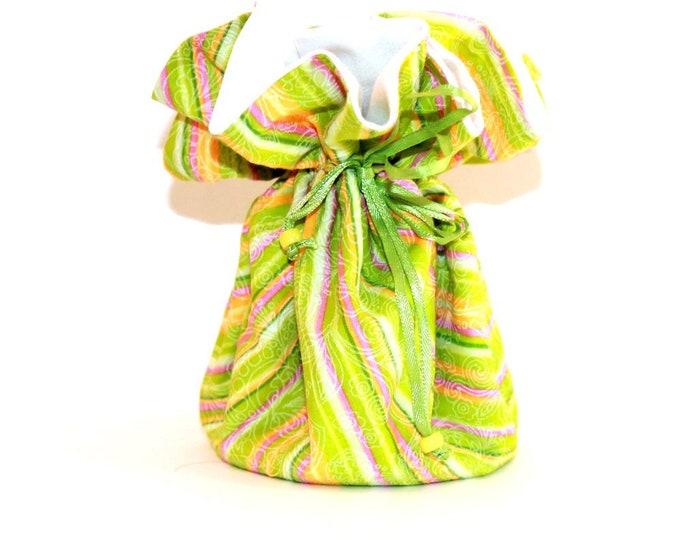 RETRO STRIPES Fabric Jewelry Organizer ~ Pouch ~ Storage Case ~ Bag ~ Tote - Bell Art Designs ~ Large JBLG0033