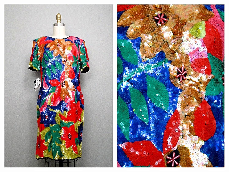 80er Jahre exotische Paillettenkleid / Neonfarben Floral