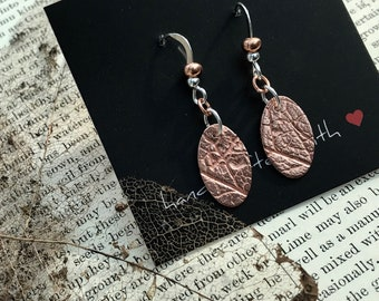 Copper Leaf Print  Earrings