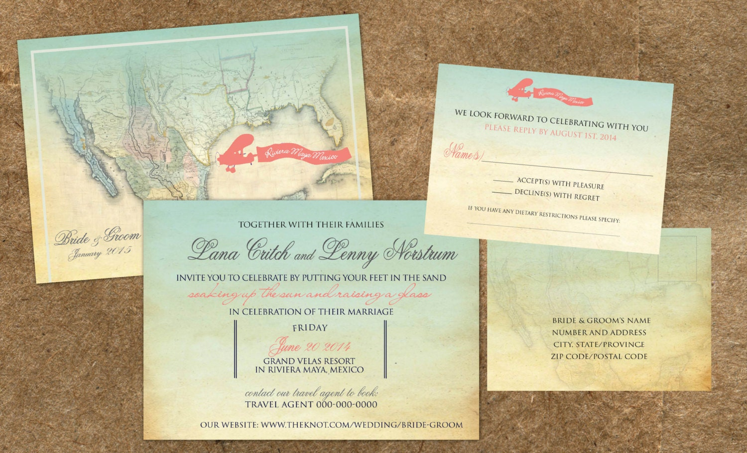 Wedding Invitations Travel Map of Mexico Vintage Turquoise