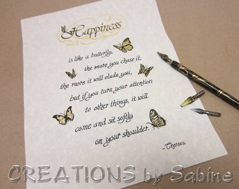 Handwritten Calligraphy, Thoreau Happiness Quote Original Art Ready To Frame Letter Size / Inspirational Butterflies / READY TO SHIP (2)