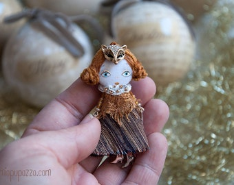 Little Fox Girl and her Tiny House, Art Doll Brooch, Christmas gift for her