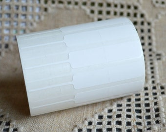 50pcs Price Tags Adhesive Label Thermal Transfer Polyester White 3-1/4 x 1/2 Inches Unfolded