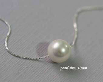Floating Pearl Necklace, 10mm Swarovski White Pearl Necklace, Bridesmaid Necklace, White Pearl Necklace, Single Pearl Necklace, Gift for Her