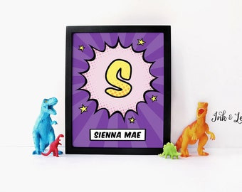 Comic Nursery Decor - Purple Comic Book Print - Custom Superhero Nursery Decor - Super Hero - Digital Download - Digital Printable - 8x10