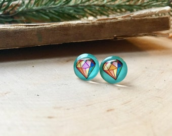 diamond jewel stud earrings, gift for her