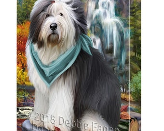 Scenic Waterfall Old English Sheepdog Canvas Wall Art