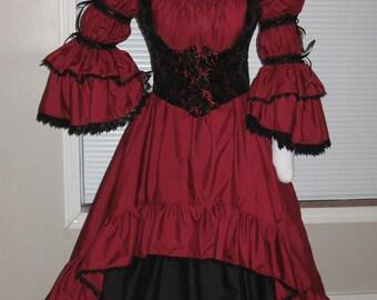 DDNJ Choose Fabric Burlesque Victorian Steampunk Style 3pc Plus Custom Made ANY Size Renaissance Goth Pirate Vampire Anime Costume LARP