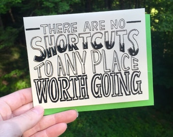 Hand Lettered Shortcuts Card, Motivational Card, Inspirational Card