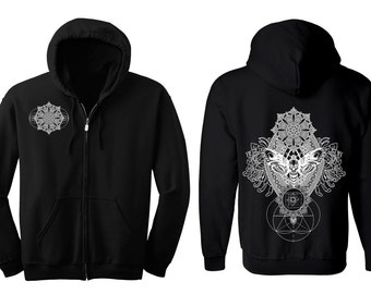 IMPERMANENCE Mandala Hoodie Men's and Women's Black Hooded Sweatshirt Sacred Geometry Clothing