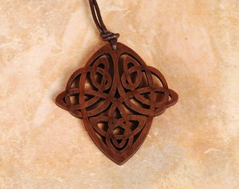 Celtic Knot Pendant - Celtic Knot Necklace - Celtic Necklace - Celtic Pendant -Wood Pendant - Wood Necklace