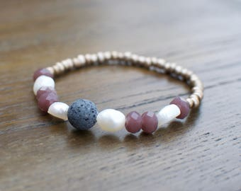 Diffuser Bracelet   Random Beads + Lava Stone   Stackable Beaded Bracelets   Essential Oil Jewelry