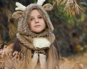 Reindeer Hat, Reindeer Hooded Cowl, Reindeer Hood, Reindeer Cowl, Reindeer hat toddler, Toddler Halloween