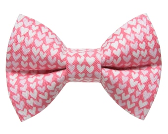"Cat Bow Tie - ""The Escapade"" - Pink with White and Pink Hearts - Limited Edition"