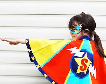 Personsalised Superhero Cape and mask dress up costume set