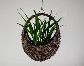 Gondola Hanging Basket, Wicker Hanging Basket, Planter Basket,  Hoop Plant Hanger Basket, Bohemian Hanging Planter, or Rustic Plant Hanger