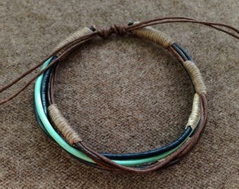 Bracelet men Leather Brown turquoise blue adjustable 6 rounds made handmade gift