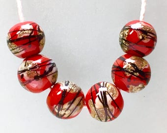 Handmade lampwork glass round beads set of 6 by Paulbead fire red & silvered stringer Asian style calligraphy ball beads jewelry design