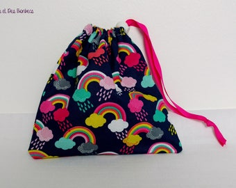 Snack bag / / pouch to taste / / kids DrawString bag / / fabric pouch / / cloud