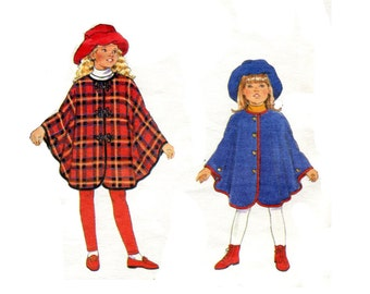 Girls Easy Cape and Hat Pattern Stovepipe Floppy Brim Cute Matching Hat and Cape Girls Fall Autumn Butterick 3581 Size 7 8 10 Sewing Pattern