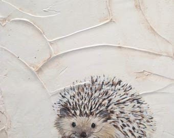 Hedgehog Acrylic Painting on Canvas 8x8