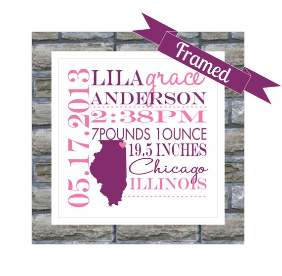 New baby gift personalized birth announcement framed state map negle Gallery