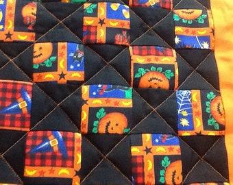 Halloween Table Runner 12x24 Homemade gift Pumpkins, candy corn, black cats