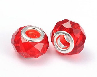 2 European beads faceted red brass 14 x 10 mm beads with large hole 5 mm, for Bracelets European snake, leather, stiff