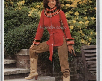Womens sweater knitting pattern pdf 1970s retro womens belted sweater striped polo neck sweater 32-38inch DK PDF instant download