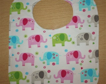 Cute Elephants Print Cotton Bib size L