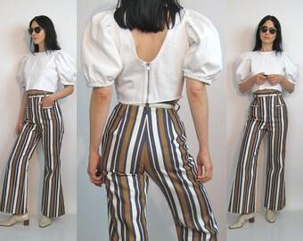70s Striped Flared Jeans 24x27.5 / Vintage 1970s Deadstock Bobbi Brooks Jeans / 24 24.5 Waist Jeans / Black White Tan Stripe Bellbottoms