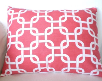 Coral Lumbar Pillow Cover, Decorative Throw Pillow, Cushion Covers, Coral White Gotcha Lumbar Pillow Case Couch Chair One 12 x 16 or 12 x 18