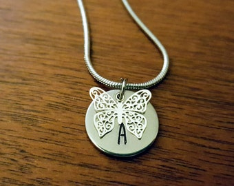 Filigree Butterfly with Initial Pendant (Customizable)