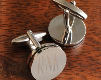 Personalized  Round Cufflinks - Engraved Monogram Cufflinks - Groomsmen Gifts - Gifts for Him - Gifts for Dad - GC797