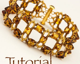 Beaded Bracelet Tutorial En Pointe with Pyramid Studs Digital Download