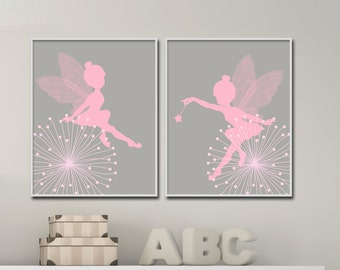 Fairy Nursery Wall Print, Baby Girl Pink and Gray Fairy Wall Print, Girls Bedroom Decor- H645 -custom color