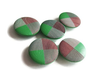 Bouton de bois de 2cm - ensemble de 5 boutons en bois teint vert