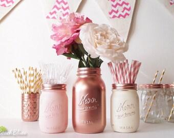 Rose Gold Decor / Mason Jar / Home Decor / Centerpiece / Vase / Copper Pink Cream / Party Decor / Baby shower / Blush Decor / Set of 3 Jars