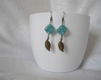 Origami paper, turquoise cube earrings jewelry