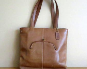 Dads Grads Sale Coach Skinny Tote In Tabac (Saddle ?) Leather- Made In NYC At 'The Factory'- VGC