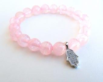 Rose Quartz bracelet , fertility bracelet, Hamsa bracelet, Protection bracelet. Healing bracelet woman , rose quartz woman