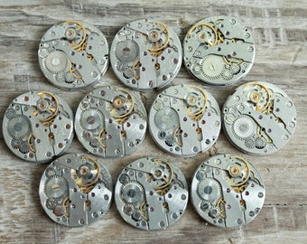 "Set of 10  watch movements 0.8"" (20 mm) - Featured - Steampunk jewelry supplies - Watch movements for art ... Vintage ... Steampunk Findings"