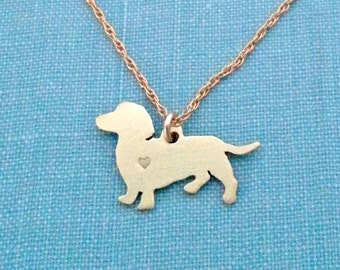 Dachshund dog Necklace, 14kt gold filled & Brass Personalize Doxie Pendant, Breed Silhouette Charm Rescue Shelter, Memorial Gift