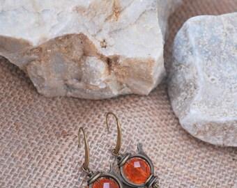 Teapot earrings, Tea earrings, alice in wonderland, orange  tea party, teapot jewelry, tea pot earrings, dangle earrings.