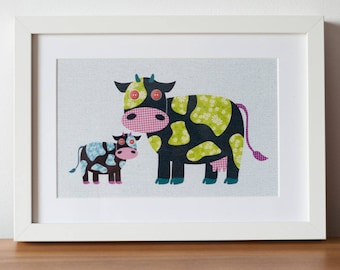 Collage-imals - Cows Wall Art Print for Babies & Kids (A4)