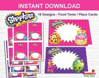 Shopkins Food Labels, Shopkins Tent Cards, Shopkins Place Cards, Shopkins Printables, Shopkins Party Decoration