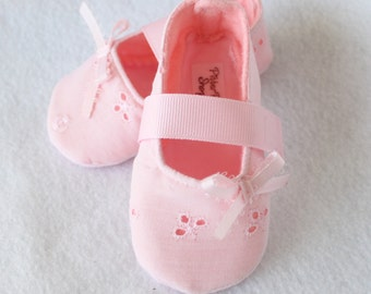 BLUSH-Light Pink, Eyelet, Embroidered Baby Girl Mary Jane fabric, Cloth, Boutique Booties